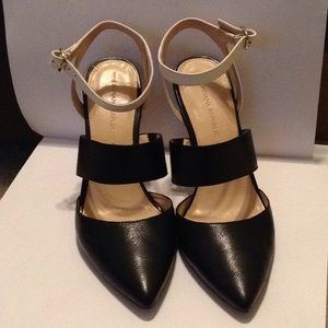 Banana Republic Leather Black White Pointed Heels